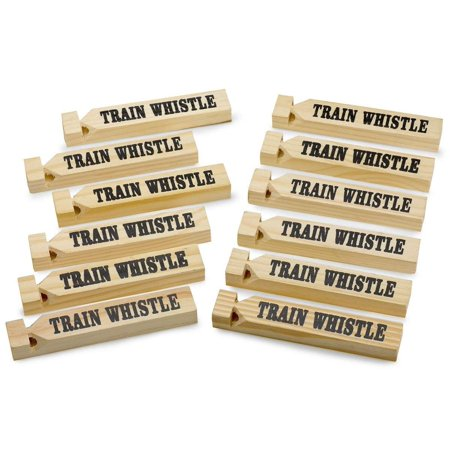 """- 12 Pack Wooden Train Whistles, 5.75"""" – Printed On A Locomotive And Words TRAIN WHISTLE and CHOO CHOO! - For Kids Of All Ages, Great Party Favor - By Kidsco"""
