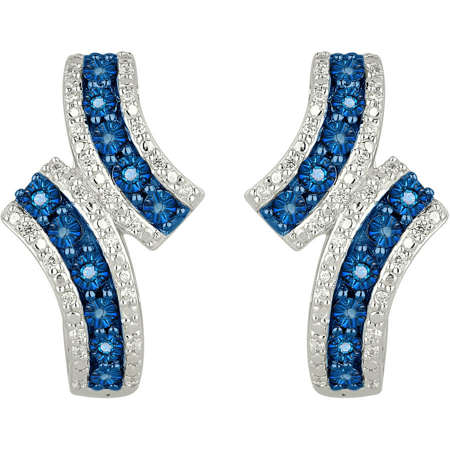 1/4 Carat T.W. Vibrant Blue and White Diamond 10kt Contemporary White Gold Earrings