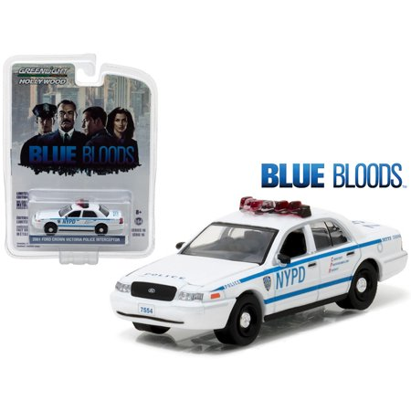Police 2007 Ford Crown - 2001 Ford Crown Victoria Police Interceptor New York City Department (NYPD) Blue Bloods TV Series 1/64 Model Greenlight