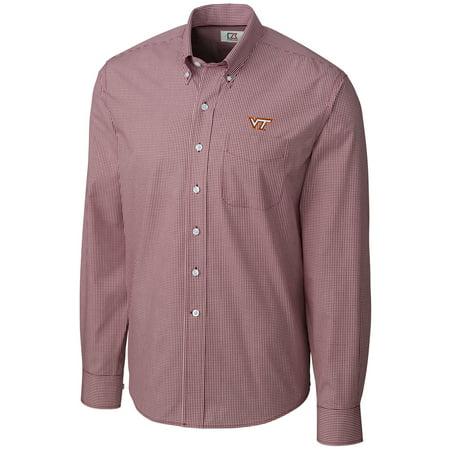Virginia Tech Hokies Cutter & Buck Epic Easy Care Gingham Big & Tall Long Sleeve Button-Down Shirt - Maroon