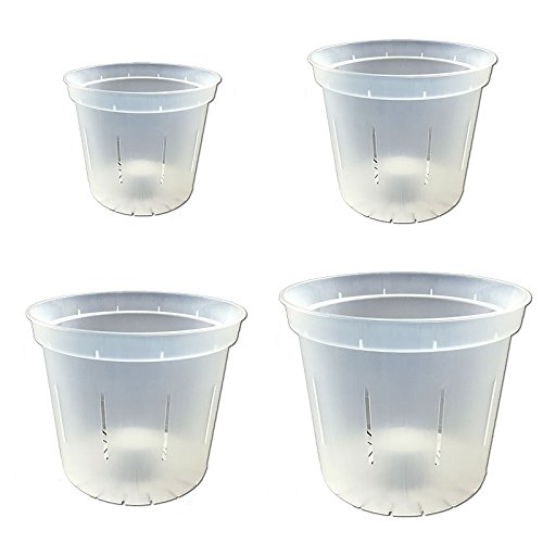 "Slotted Clear Orchid Pots - Growers Assortment (4 pots - 1 each of 3"", 4"", 5"" and 6"")"