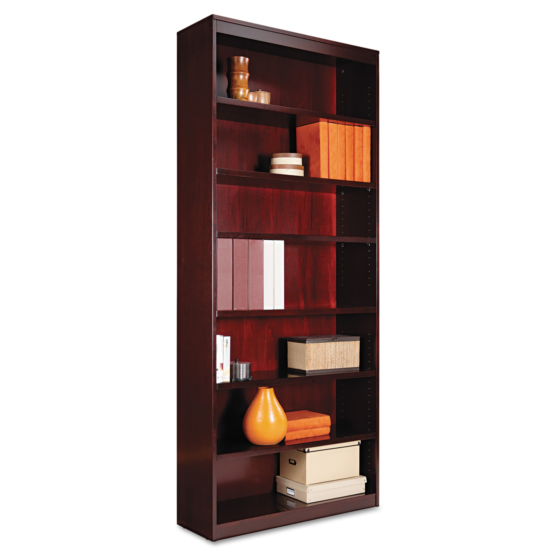 Alera Square Corner Wood Bookcase, Seven-Shelf, 35-5 8 x 11-3 4 x 84, Medium Cherry by ALERA