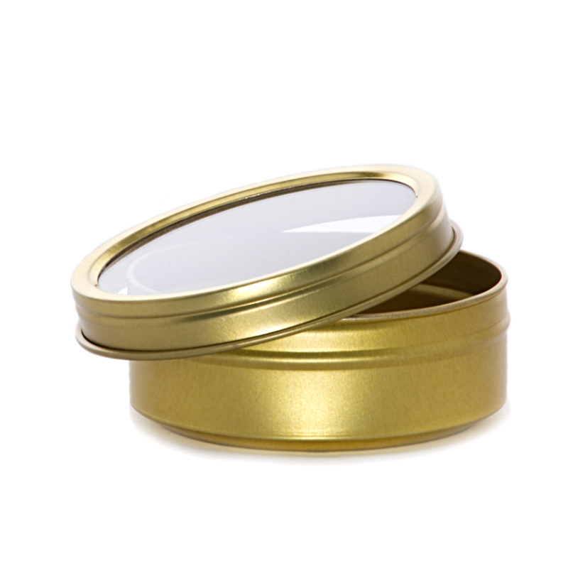 """432ea - 4 Oz Gold Window Shallow Stackable Tin Can 