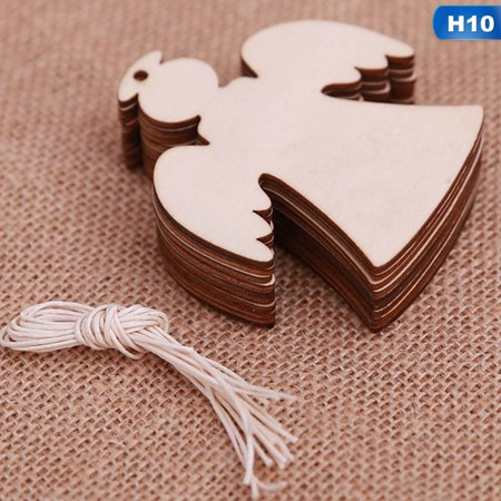 Fancyleo 10pcs\/bag Creative Christmas Tree Elk Snowflakes Wooden Pendants Ornaments Diy Wood Crafts Xmas Tree Party Hanging Xmas Ornament Kids Gift Trend ()