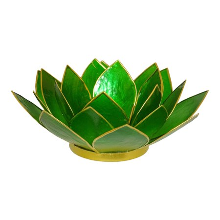 The Crabby Nook Lotus Tea Light Candle Holder Capiz Shell Decorating Accent Home Decor (Dark Green) ()