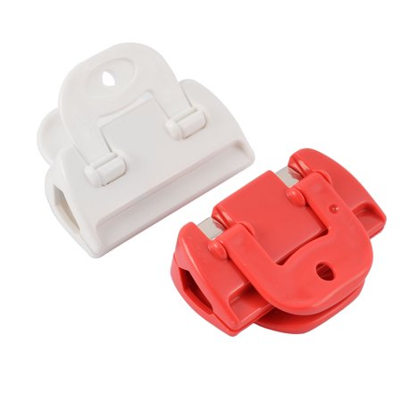 Home Kitchen Food Storage Plastic Pocket Sealing Bag Clips Clamp Red White 2pcs - image 4 de 4