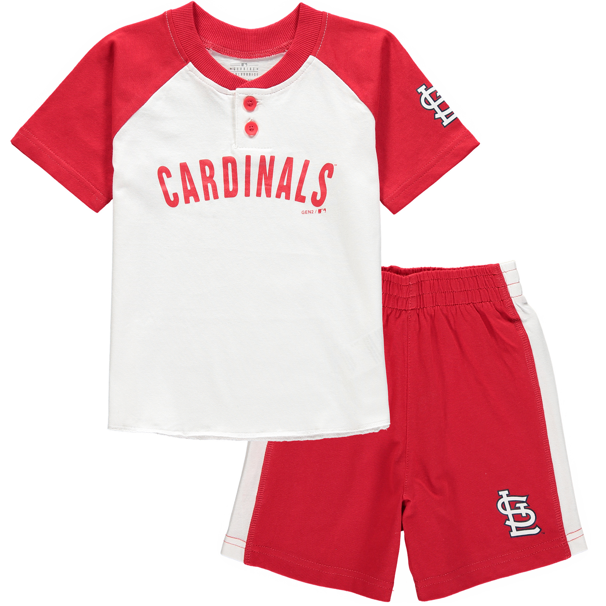 St. Louis Cardinals Toddler Good Hit Henley T-Shirt & Shorts Set - White/Red