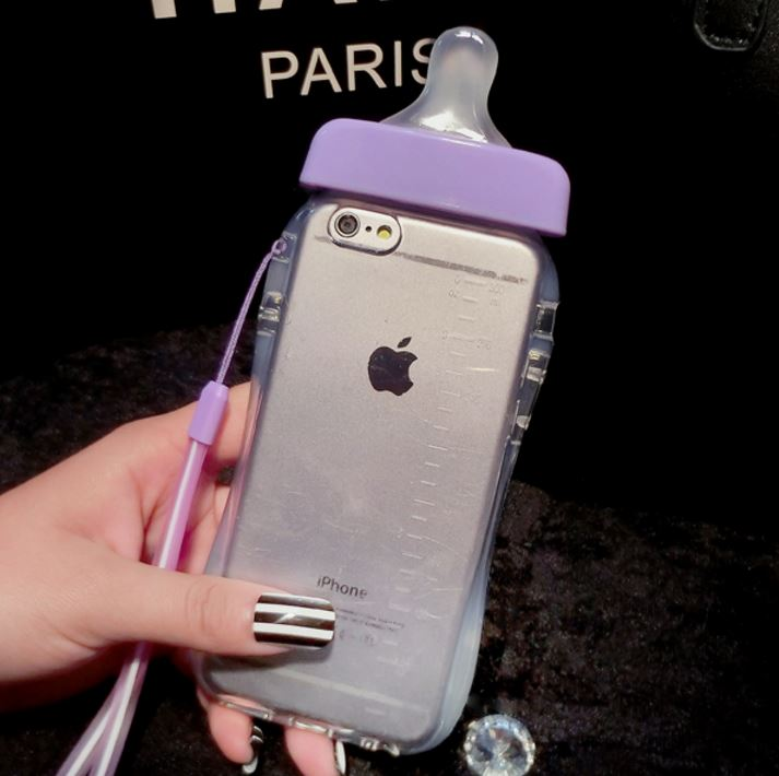 For iPhone 5 iPhone 5s iPhone SE Pink Cute Baby Pacifier Milk Feeding Bottle 3D Soft Baby Bottle Case w/ Neck Strap