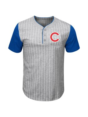 9852ace422e1 Product Image Chicago Cubs Majestic Life Or Death Pinstripe Henley T-Shirt  - Gray/Royal