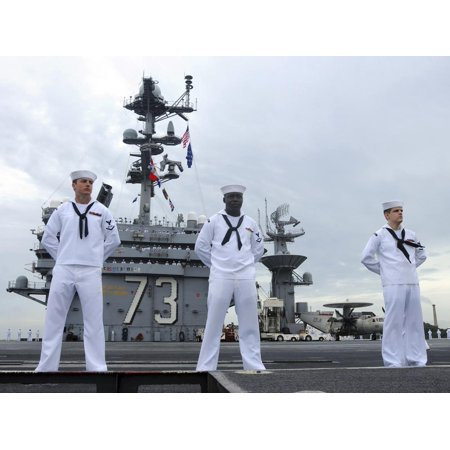 Sailors Man the Rails Aboard the Aircraft Carrier USS George Washington Print Wall Art By Stocktrek (George Washington Carver Best Known For)