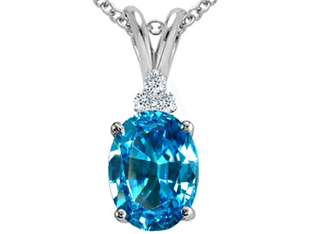Tommaso Design Oval 10x8 Genuine Blue Topaz Pendant Necklace by