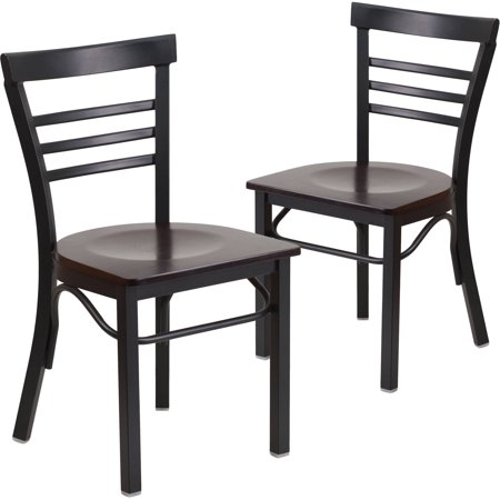 Flash Furniture 2pk HERCULES Series Black Ladder Back Metal Restaurant Chair, Wood Seat, Multiple Colors