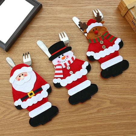 Obstce Lovely Christmas Santa Claus Snowman Deer Cutlery Cover Knife Fork Spoon Holder (Christmas Flatware)