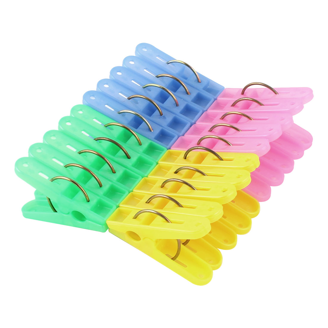 Plastic Laundry Clothes Drying Pegs Clips Pins Clothespins Assorted Color 20pcs