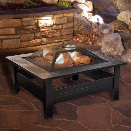"""Fire Pit Set, Wood Burning Pit -Includes Screen, Cover and Log Poker- Great for Outdoor and Patio, 32 Inch"""" Marble Tile Square Firepit by Pure Garden ()"""
