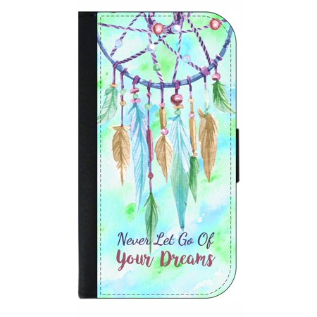 Never Let Go of Your Dreams - Dreamcatcher- Quote - Wallet Style Cell Phone Case with 2 Card Slots and a Flip Cover Compatible with the Standard Apple iPhone X - iPhone 10 (Let Me See Your Phone Cause All Them)