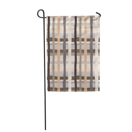 JSDART Striped Checked Crossing and Lines with Torn Effect Ethnic Gray Orange Cream Garden Flag Decorative Flag House Banner 28x40 inch - image 1 of 1