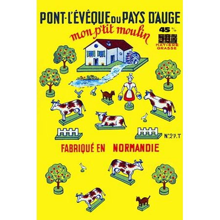 Label from a French cheese from the Pont Leveque region  Shows a farm scene with each part drawn as a childrens toy set Poster Print by unknown