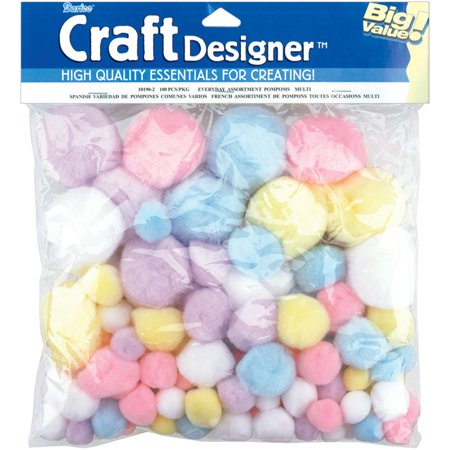 Spring Colored Pom Poms: 100 pack, Big Value
