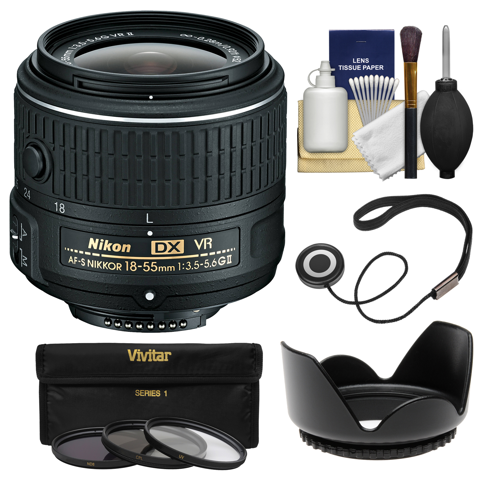 Nikon 18-55mm f/3.5-5.6G VR II DX AF-S Zoom-Nikkor Lens - Factory Refurbished with 3 UV/CPL/ND8 Filters + Hood + Kit