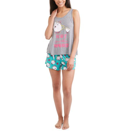 Women's and Women's plus licensed pajama tank and shorts 2-piece sleepwear set