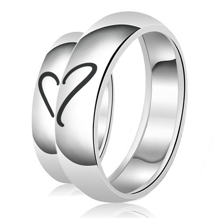His & Her Engraved Heart Puzzle Classic Sterling Silver Plain Wedding Band (Plain Wedding Bands For Him And Her)