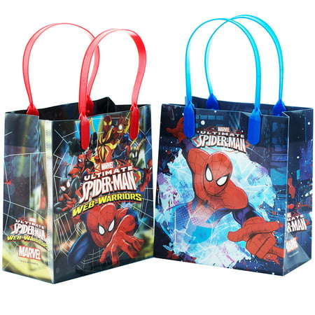 Spiderman Web Warrior Reusable 12 Party Favors Small Goodie Gift Bags