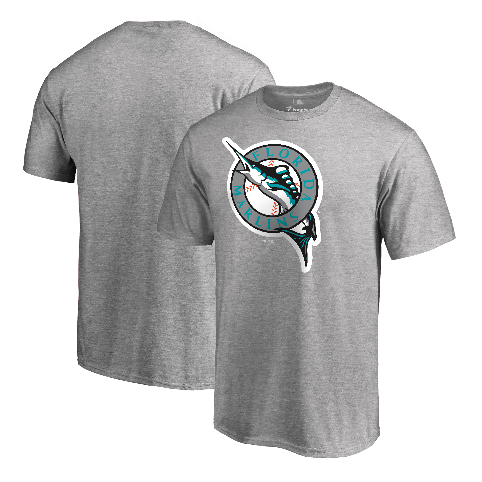 Miami Marlins Fanatics Branded Cooperstown Collection Huntington T-Shirt - Ash