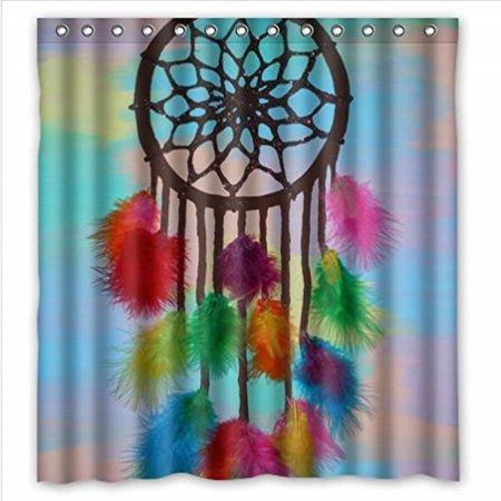 Fashionable Design Colourful Dream Catcher Feathers Waterproof Polyester Fabric Shower Curtain 66