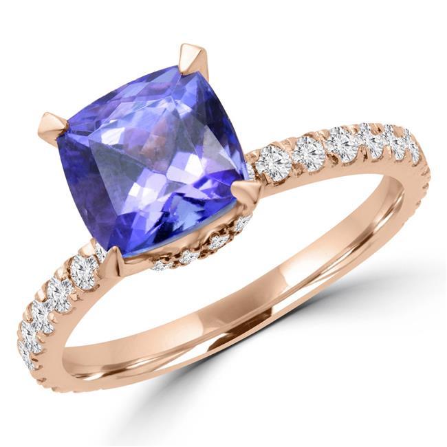 Majesty Diamonds MD170135-6.75 3.25 CTW Cushion Purple Tanzanite Cocktail Ring in 14K Rose Gold - 6.75 - image 1 de 1