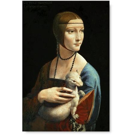 Awkward Styles Lady with an Ermine Italian Artist Leonardo da Vinci Unframed Oil Painting Leonardo Poster Wall Art Women Portrait Painted by Leonardo Calssic Artwork Home Decor Printed Art Picture - Lady Oil Painting
