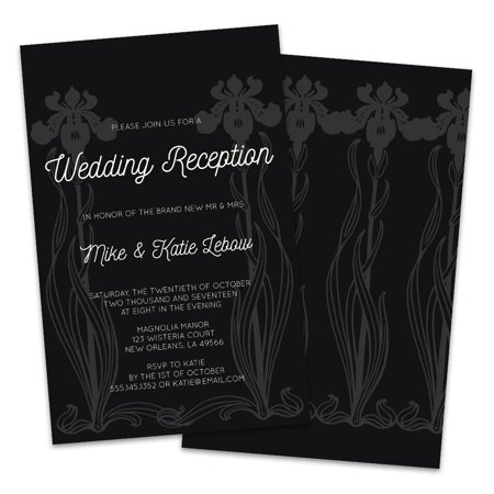 Black & White Iris Personalized Wedding Reception Invitations](Black And White Wedding Invitations)