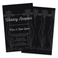 Black & White Iris Personalized Wedding Reception Invitations