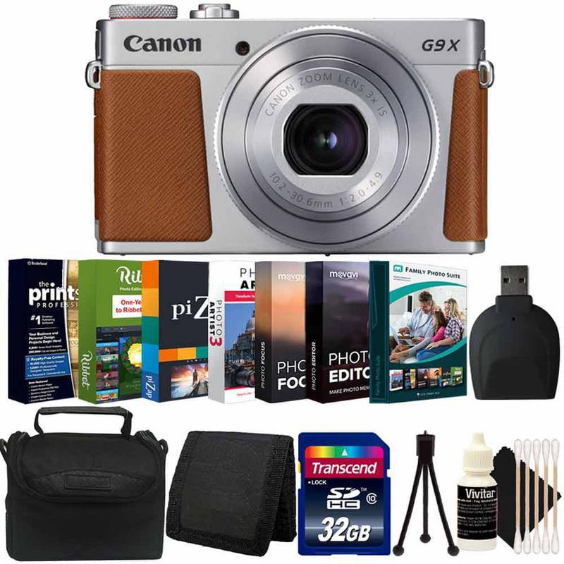 Canon Powershot G9x II Digital Camera Silver with Photo Editing SoftwareKit