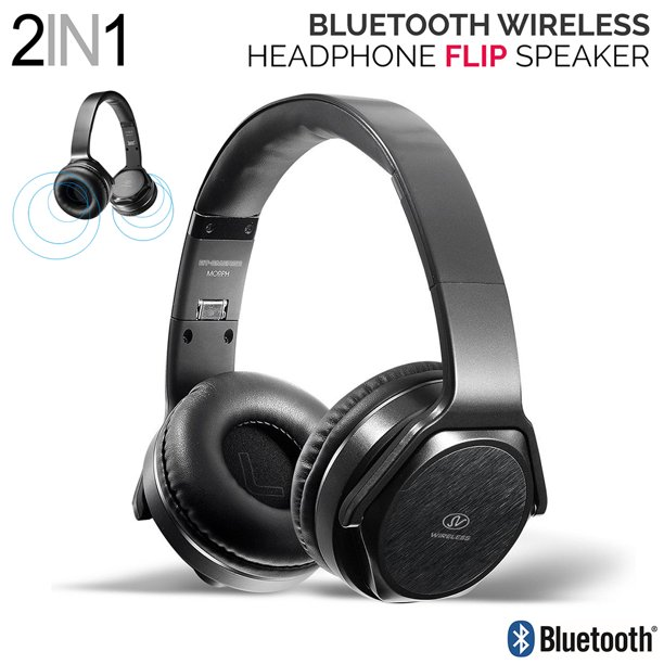2 In 1 Rechargeable Stereo Bluetooth Over Ear Headphones Speaker Adjustable Headband Foldable Headset Built In Mic Hands Free Call Support Tf Card Fm Radio Walmart Com Walmart Com