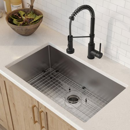 Kraus Kitchen Set With Standart Pro Stainless Steel Farmhouse Kitchen Sink And Bolden Commercial Pull Down Kitchen Faucet In Matte Black