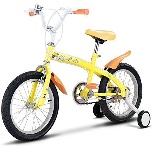 """GHP 16"""" Yellow Metal Frame Double Brake Kids Bike with Rubber Tire Training Wheels"""