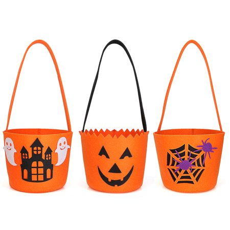 Halloween Goody Bags For School (Halloween Candy Felt Basket / Bucket / Bag For Kids, Reusable and Convenient, Soft and Durable, Perfect for Carry Goodies and Gifts for Treat and Trick (3)
