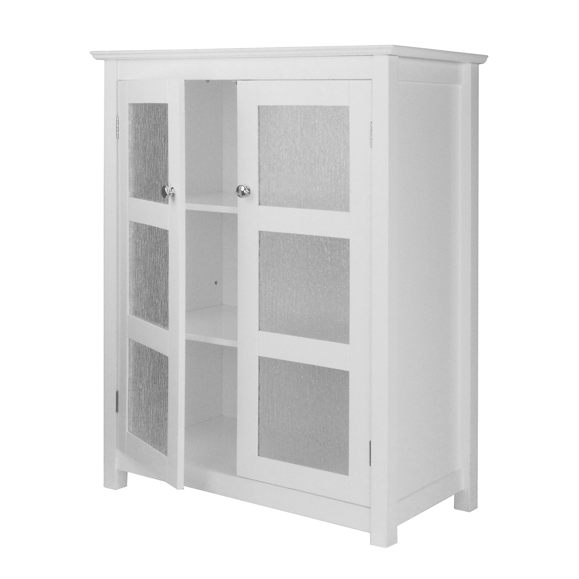 Connor Floor Cabinet With Glass Doors And Adjustable Shelves In White Walmart Com Walmart Com