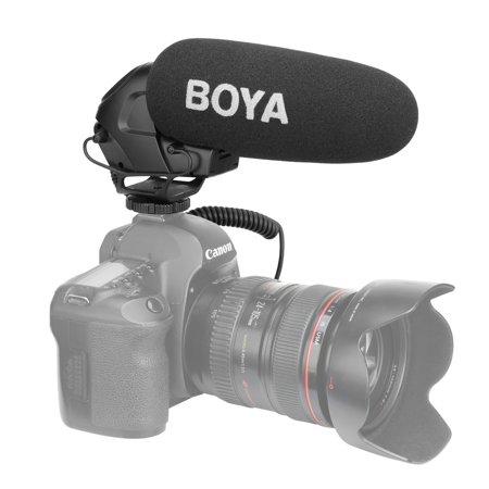 AMZER Shotgun Super-cardioid Condenser Broadcast Microphone with Windshield for Canon / Nikon / Sony DSLR Cameras (Black)