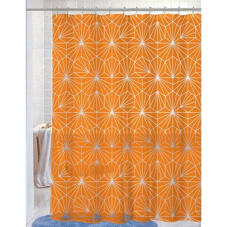 Amelia Orange Peva Vinyl 70x72 Shower Curtain With Matching Hooks