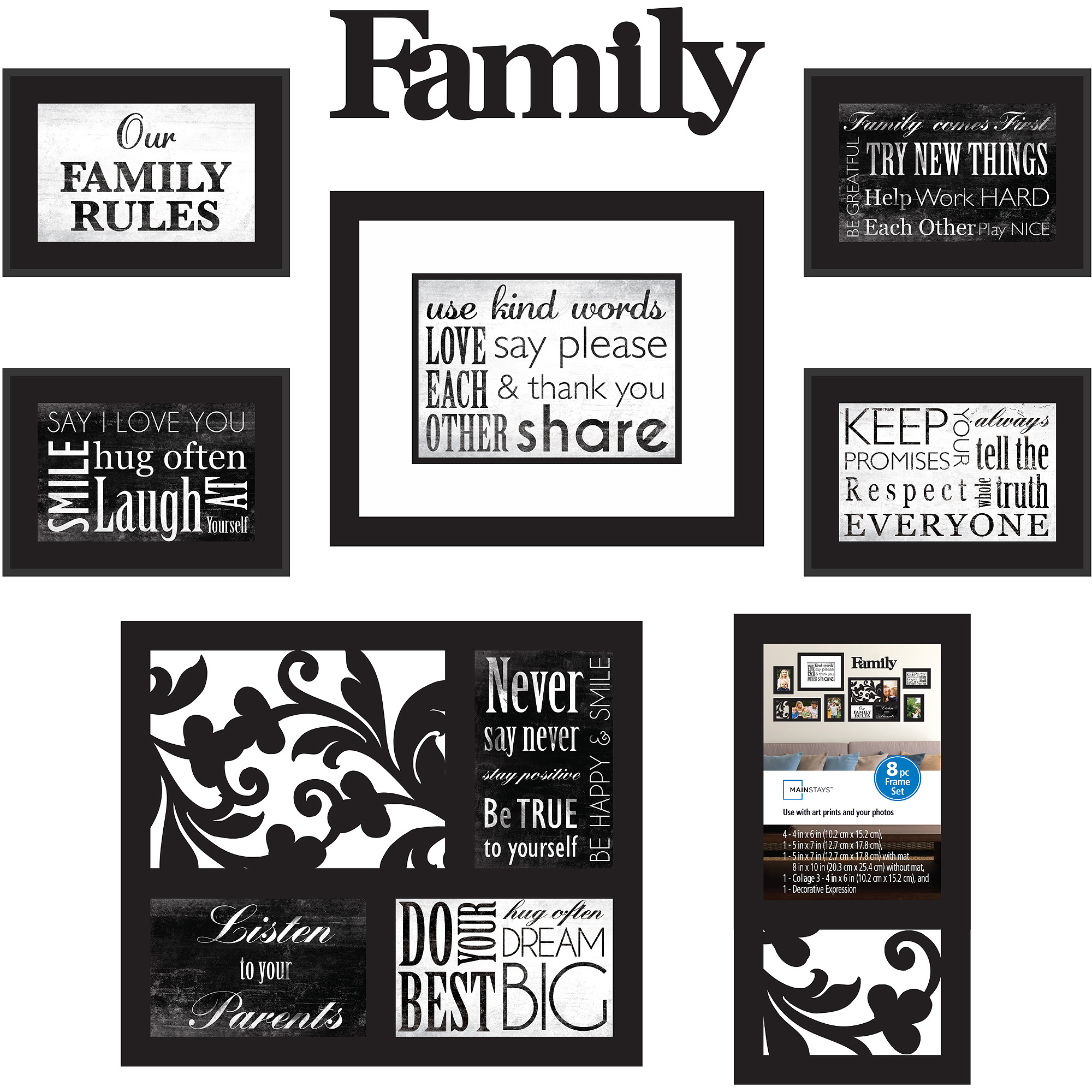 Mainstays 8 Piece Family Frame Set Walmartcom
