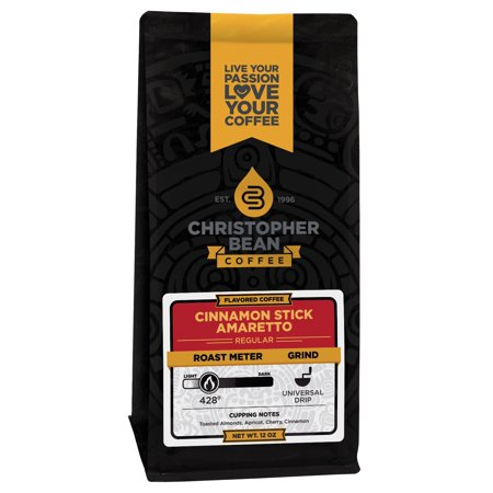Amaretto Cinnamon Stick Flavored Decaf Whole Bean Coffee, 12 Ounce Bag
