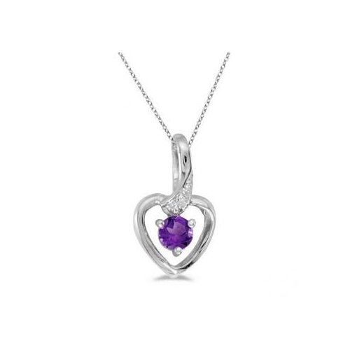 Seven Seas Jewelers Amethyst and Diamond Heart Pendant Necklace 14k White Gold by Brand New