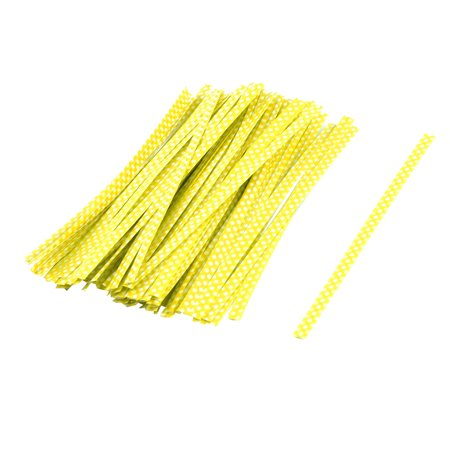 Plastic Dots Pattern Candy Bags Packaging Twist Ties Yellow 10cm Length 100 Pcs](Silver Twist Ties)