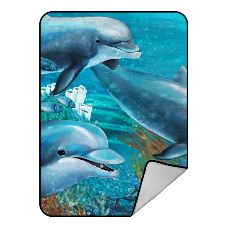PHFZK Ocean Animal Blanket, Underwater World with Dolphins and Coral Reef Fleece Blanket Crystal Velvet Front and Lambswool Sherpa Fleece Back Throw Blanket 58x80inches