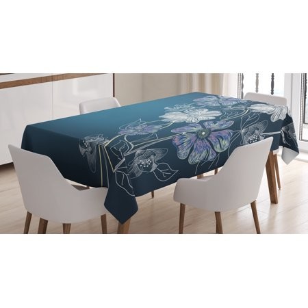 Art Tablecloth, Hand Drawn Cherry Blossoms Fantasy Elegant Garden Bridal Anniversary Theme, Rectangular Table Cover for Dining Room Kitchen, 60 X 84 Inches, Blue Lavander White, by Ambesonne