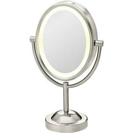 Conair True Glow Satin Nickel Oval Lighted Mirror