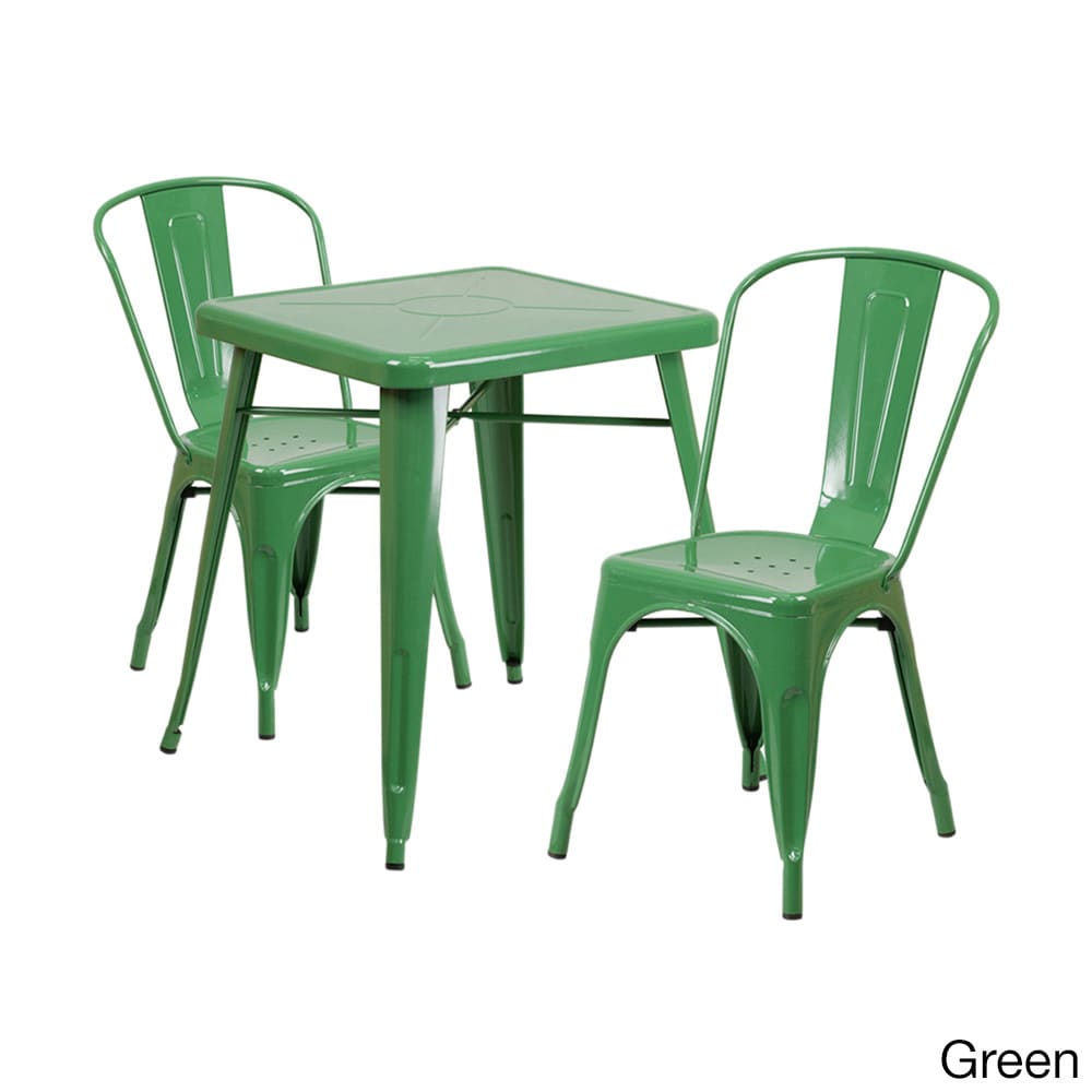 Offex  Metal Indoor-Outdoor Table Set with 2 Stack Chairs
