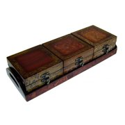 Cheung's FP-2462-4 riple Wooden Decorative Boxes with Tray  Brown